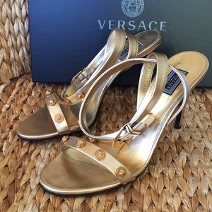 NIB Versace Metallic Gold Sandals Heels 40 8.5 9